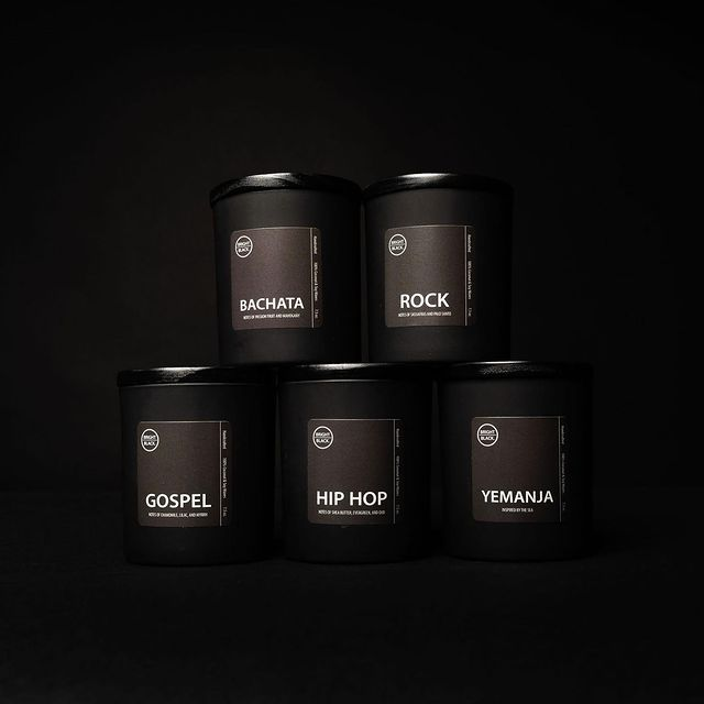 picture of music genre candle collection from Bright Black Candle Co.