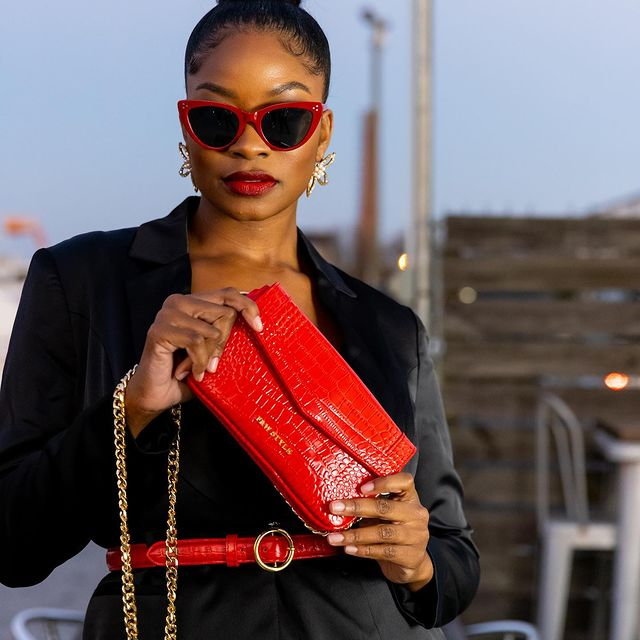 F&W Style red leather clutch